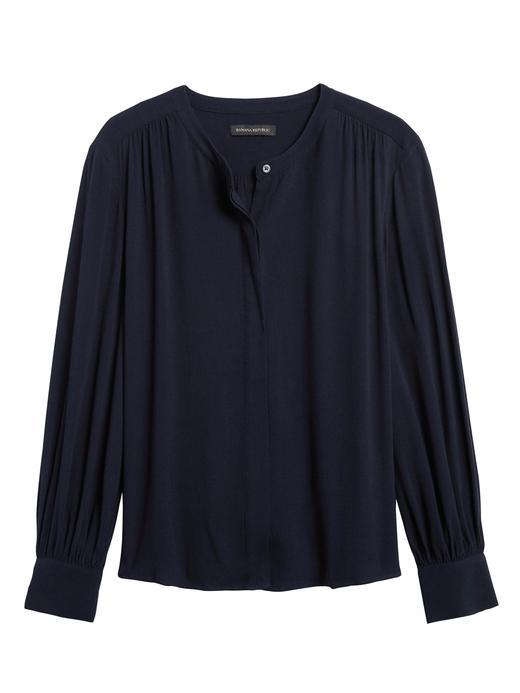 Kadın Lacivert EcoVero™ Balon Kollu Bluz