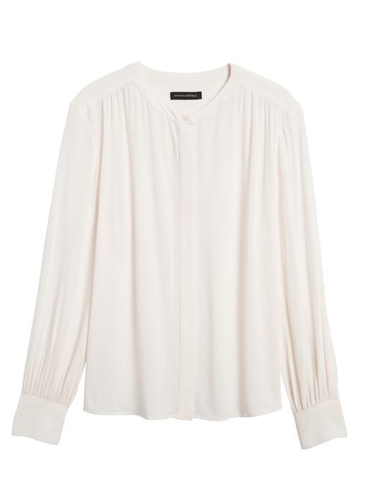 Kadın Beyaz EcoVero™ Balon Kollu Bluz