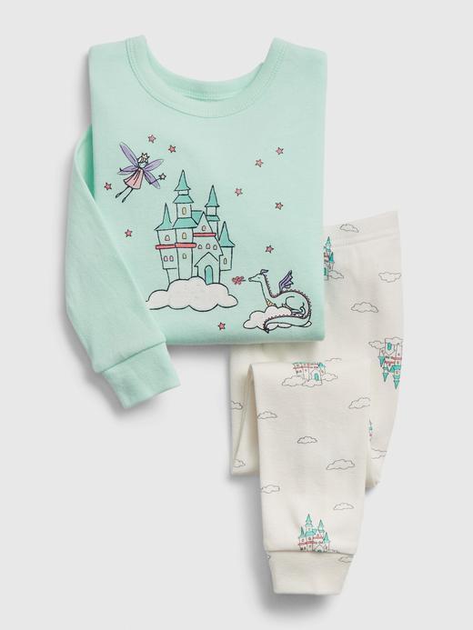 Erkek Bebek Yeşil Desenli Uzun Kollu Pijama Takımı