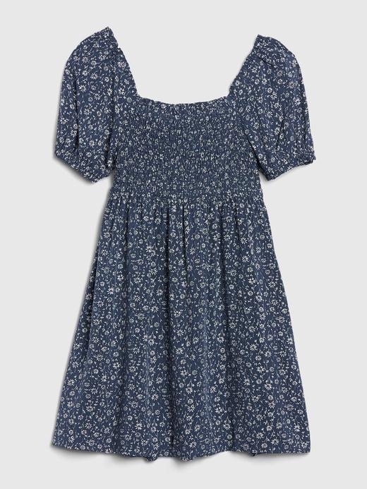 Kız Çocuk Mavi Çiçek Desenli Kısa Kollu Elbise