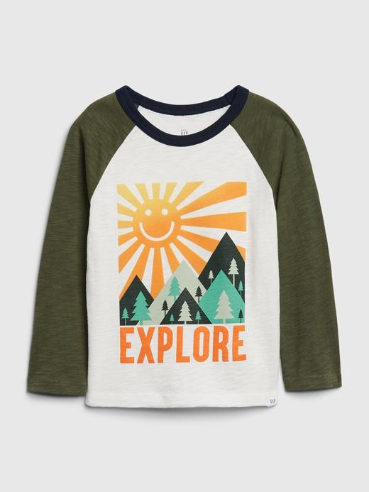 Erkek Bebek Yeşil Grafik Desenli Uzun Kollu T-Shirt