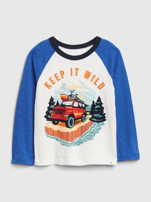 Erkek Bebek Mavi Grafik Desenli Uzun Kollu T-Shirt