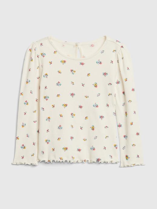 Kız Bebek Bej Fitilli Uzun Kollu T-Shirt