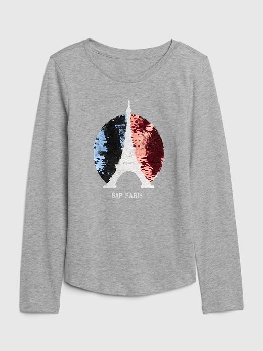 Kız Çocuk Gri Pullu Grafik Desenli Uzun Kollu T-Shirt