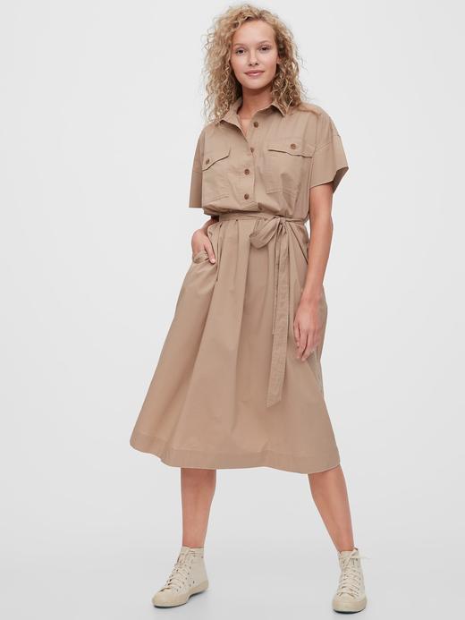 Kadın Bej Utility Gömlek Elbise