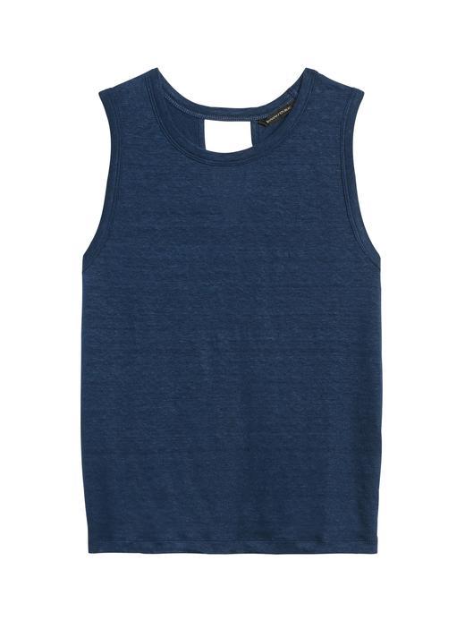 Kadın Lacivert Keten Kolsuz T-Shirt