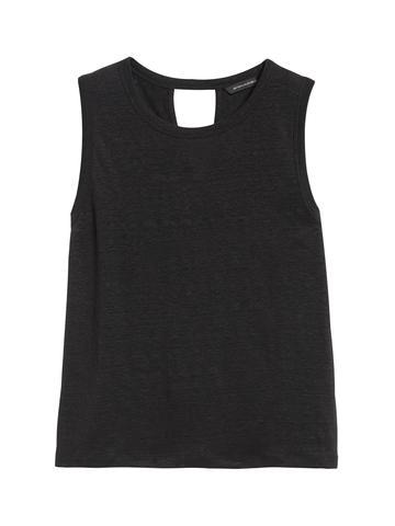 Kadın Siyah Keten Kolsuz T-Shirt