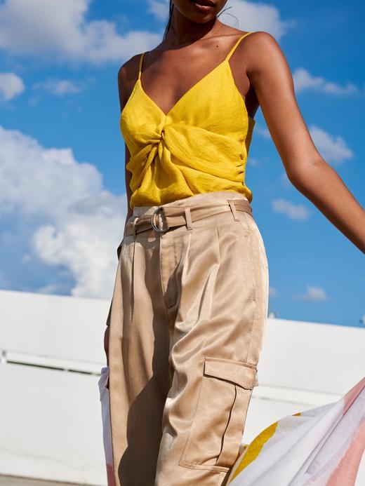 Kadın Siyah High-Rise Tapered Saten Kargo Pantolon