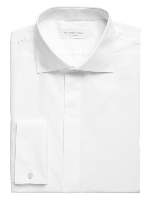 Erkek Beyaz Slim-Fit Ütü Gerektirmeyen Gömlek