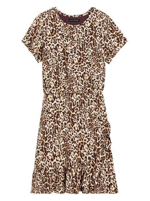 Kadın Kahverengi Desenli Kısa Kollu Elbise