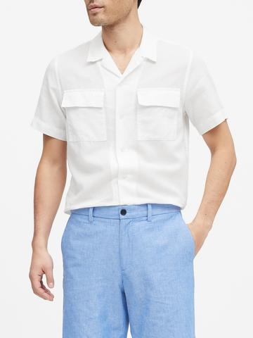 Erkek Beyaz Keten Pamuk Karışımlı Slim-Fit Gömlek