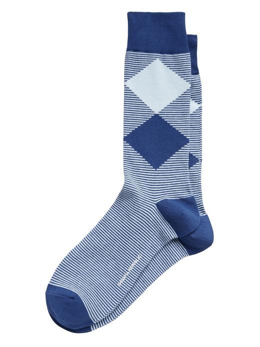 Erkek Mavi Desenli Çorap