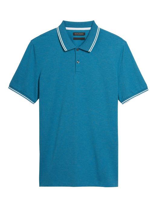 Erkek Mavi Luxury-Touch Performance Polo Yaka T-Shirt
