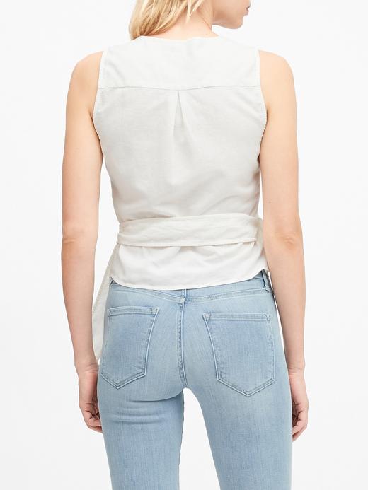 Kadın Beyaz Keten Pamuk Karışımlı Bluz
