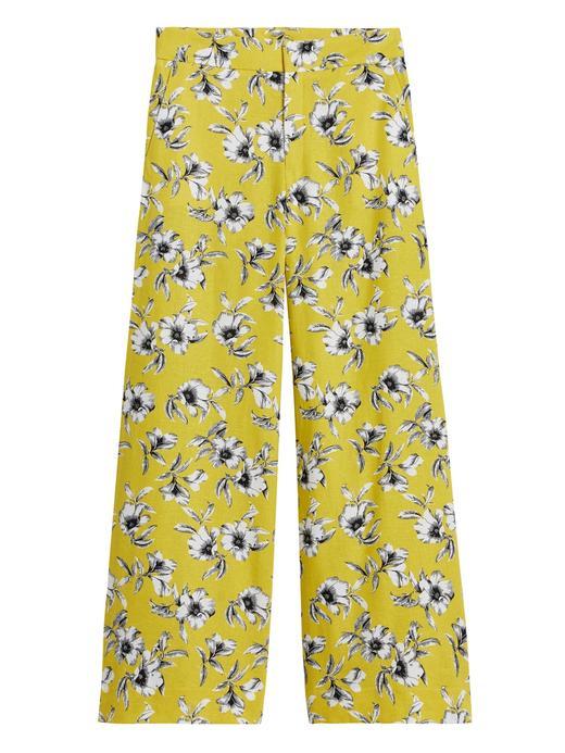 Kadın Sarı High-Rise Wide-Leg Pantolon
