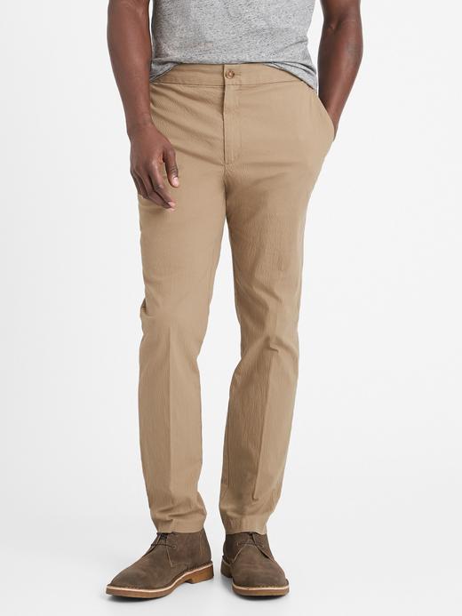 Erkek Bej Slim Gofre Pantolon
