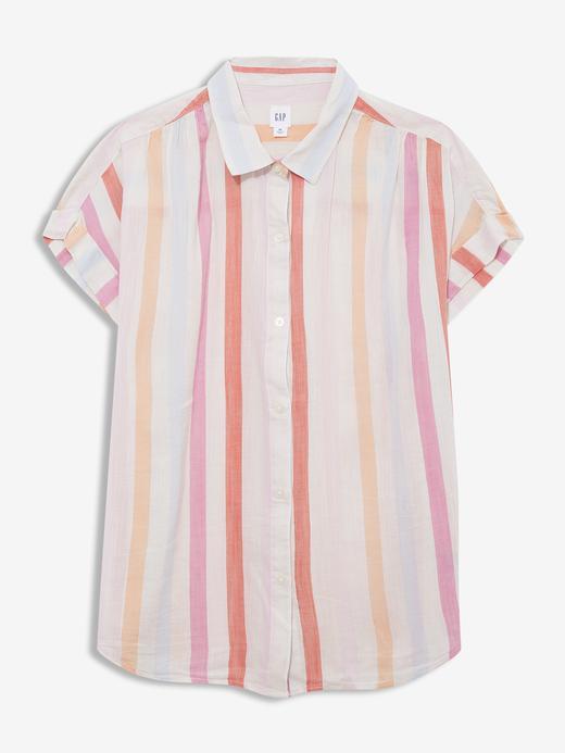 Kadın Pembe Kısa Kollu Gömlek