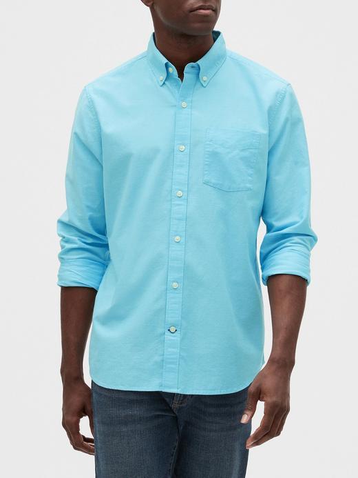 Erkek Mavi Standard Fit Uzun Kollu Gömlek