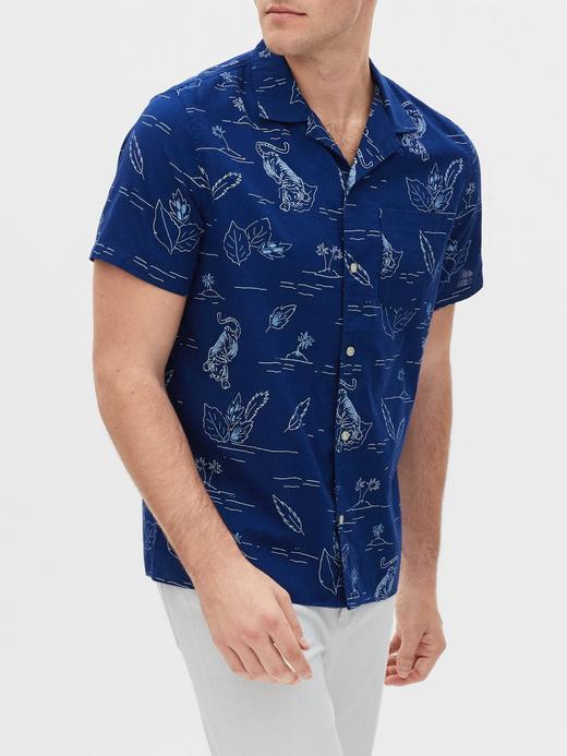 Erkek Mavi Desenli Kısa Kollu Gömlek