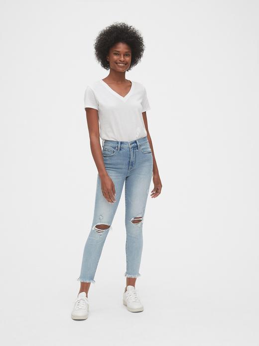Kadın Mavi High Rise Skinny Ankle Jean Pantolon