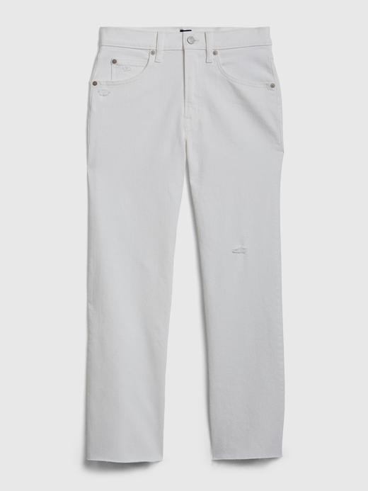 Kadın Beyaz High Rise Ankle Flare Jean Pantolon