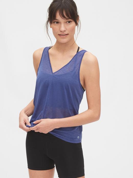 Kadın Mavi GapFit V-Yaka Atlet