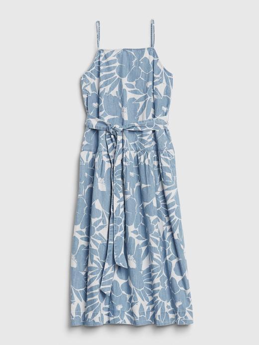 Kadın Mavi Çiçek Desenli Askılı Elbise
