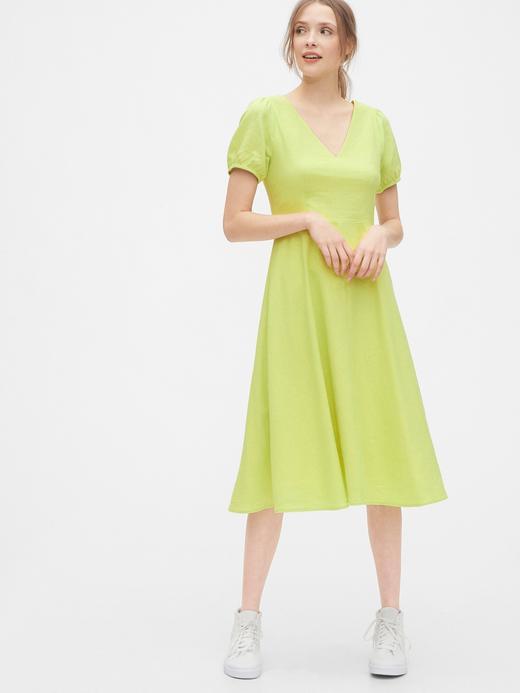Kadın Sarı V Yaka Midi Elbise
