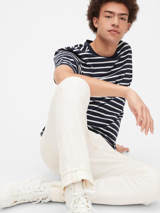 Erkek Beyaz Vintage Yıkamalı Slim Jean Pantolon