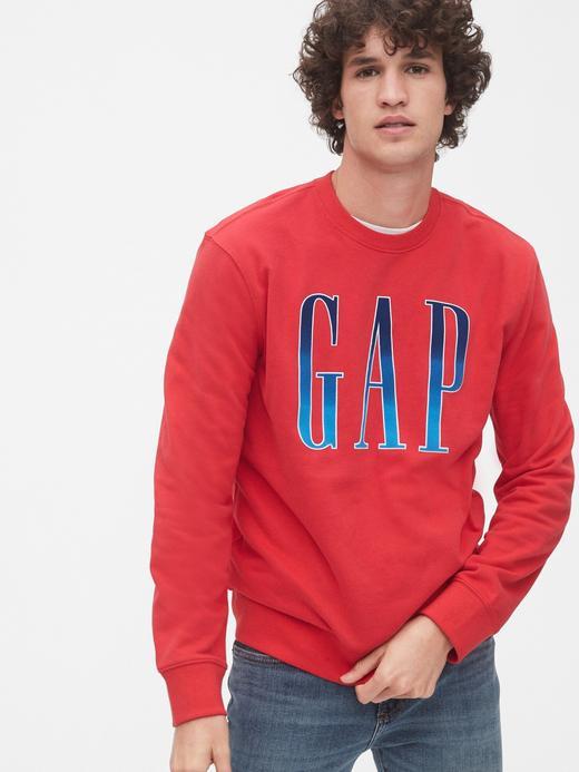 Erkek Kırmızı Gap Logo Yuvarlak Yaka Sweatshirt