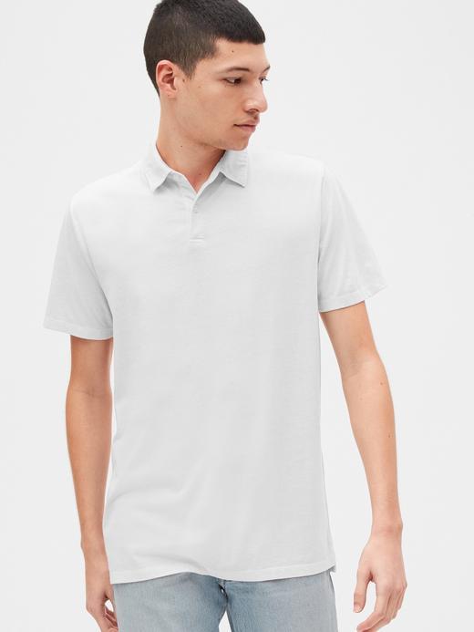Erkek Beyaz Vintage Soft Polo Yaka T-Shirt