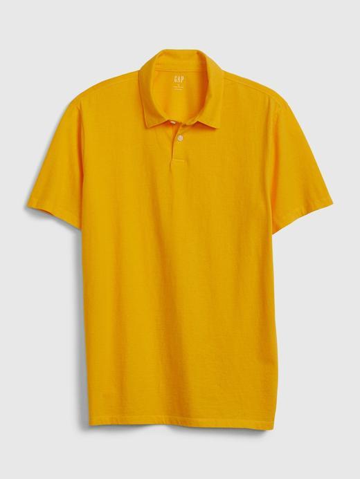 Erkek Sarı Vintage Soft Polo Yaka T-Shirt
