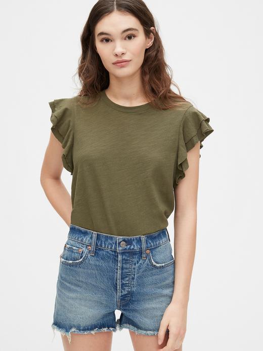 Kadın Yeşil Fırfır Kollu Bluz