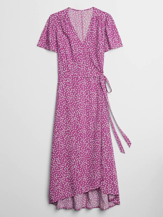 Kadın Mor Desenli Midi Anvelop Elbise