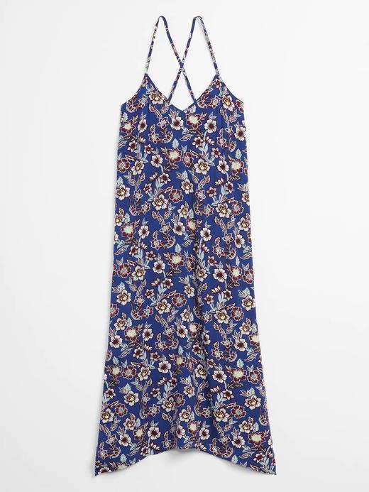 Kadın Mavi Askılı Midi Elbise