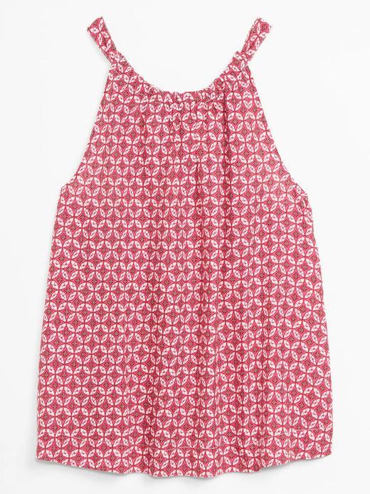 Kadın Pembe Desenli Kolsuz Bluz