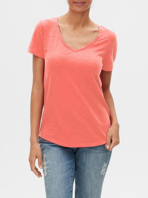 Kadın Turuncu V Yaka Kısa Kollu T-Shirt