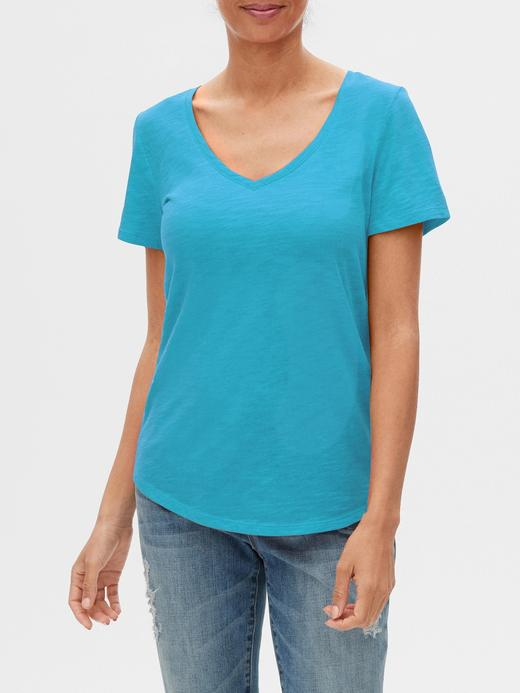 Kadın Mavi V Yaka Kısa Kollu T-Shirt