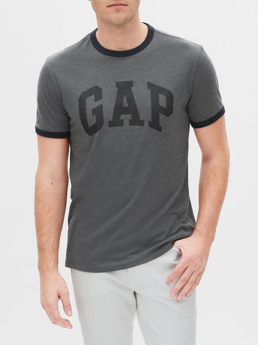 Erkek Gri Gap Logo Kısa Kollu T-shirt