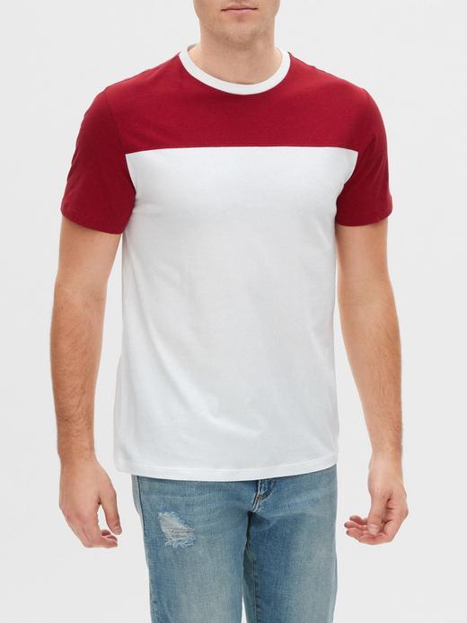 Erkek Kırmızı Renk Bloklu Kısa Kollu T-Shirt