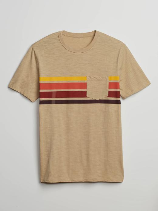 Erkek Kahverengi Çizgili Kısa Kollu T-Shirt