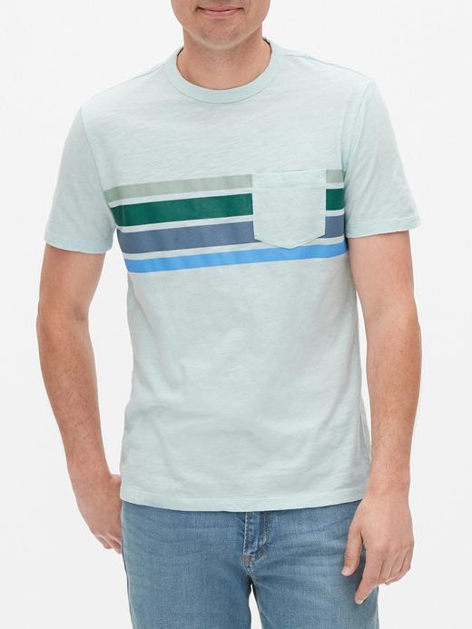 Erkek Mavi Çizgili Kısa Kollu T-Shirt