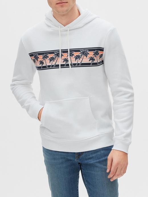 Erkek Beyaz Kapüşonlu Sweatshirt