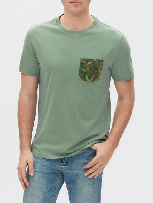 Erkek Yeşil Cepli Kısa Kollu T-shirt