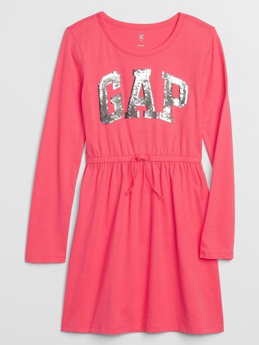 Kız Çocuk Pembe Gap Logo Uzun Kollu Elbise