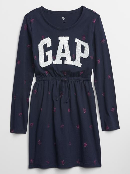 Kız Çocuk Lacivert Gap Logo Uzun Kollu Elbise
