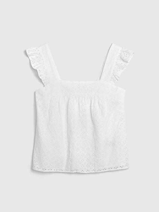 Kadın Beyaz Fırfır Detaylı Askılı Bluz