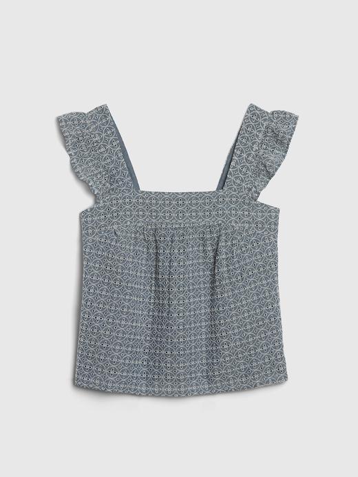 Kadın Mavi Fırfır Detaylı Askılı Bluz