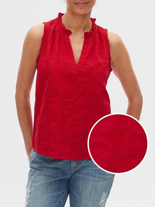 Kadın Kırmızı İşlemeli Kolsuz Bluz