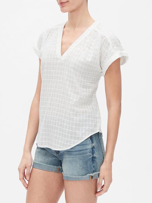 Kadın Beyaz Kısa Kollu V Yaka Bluz
